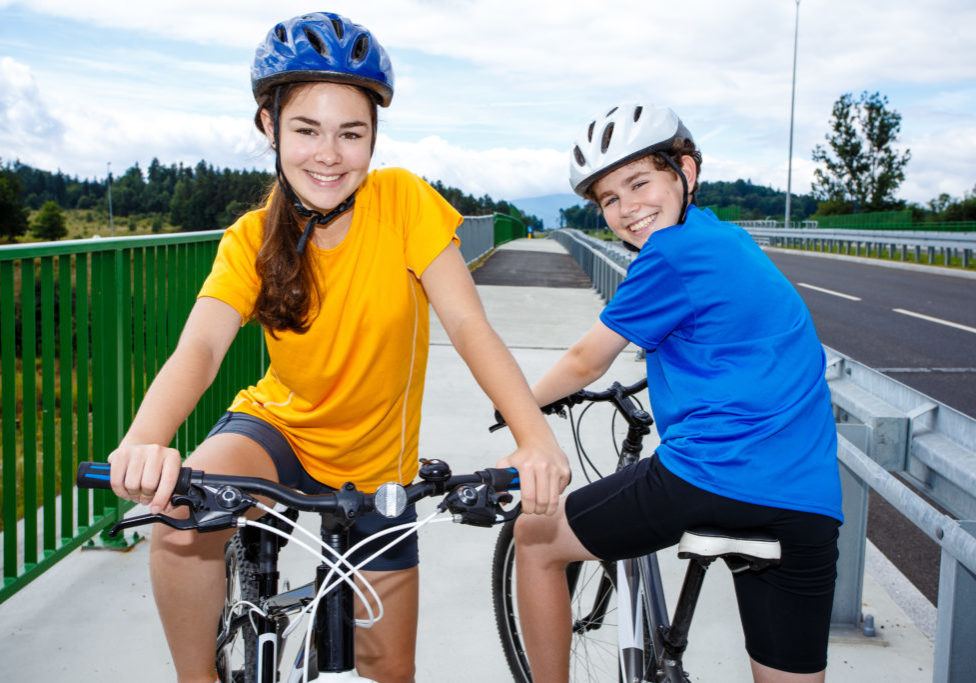 Active young people riding bikes